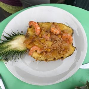 crevettes riz sautés ananas