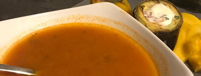 Soupe tunisienne crevettes encornet semoule d'orge
